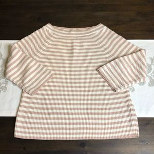 J crew white pink stripped sweater medium